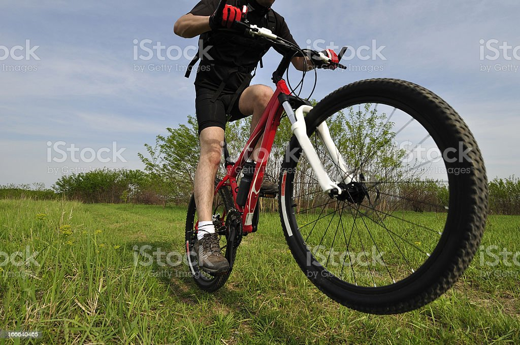 Man riding a bicycle in the middle of nature royalty-free stock photo