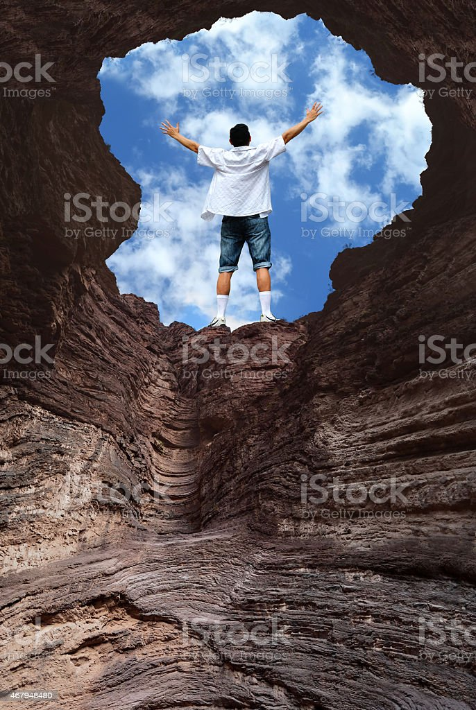 Man Rising Arms Concept of Hope stock photo