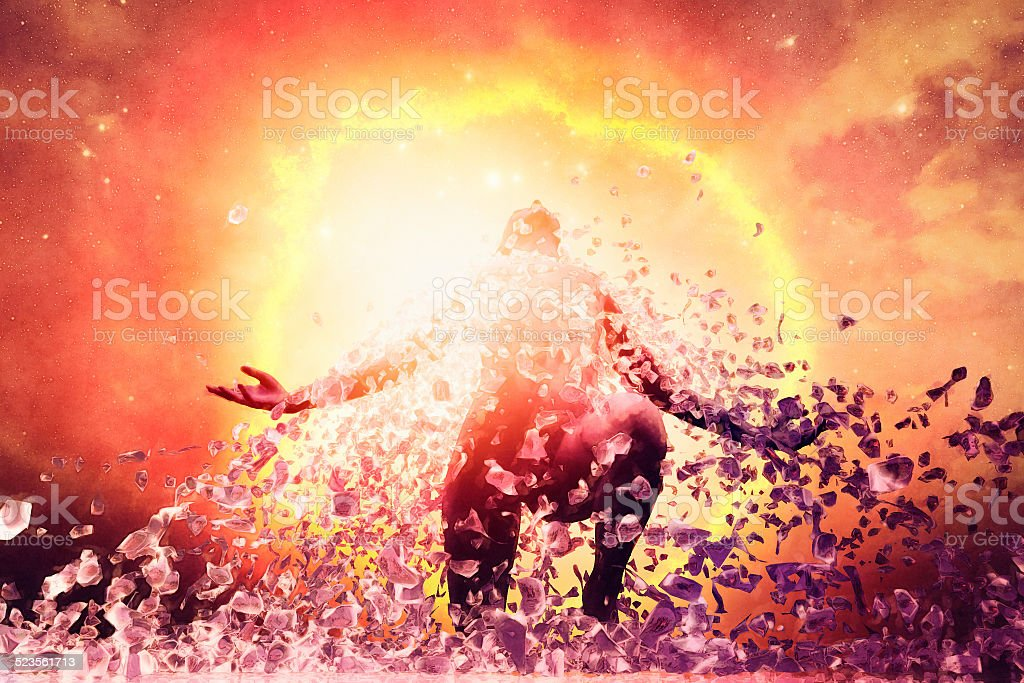 Man rising from the ashes, energy, aura, power,reincarnation stock photo