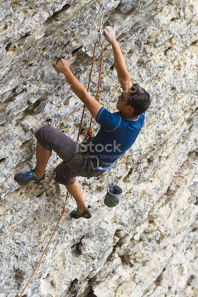 Man Rock Climbing, Canada royalty-free stock photo