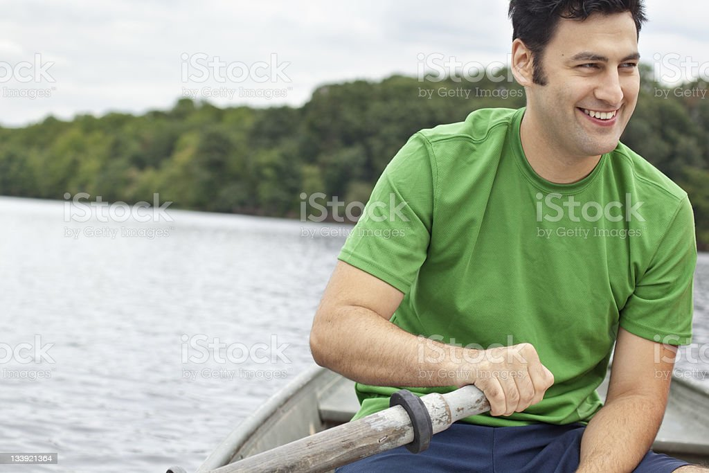 Man Rowing Boat royalty-free stock photo