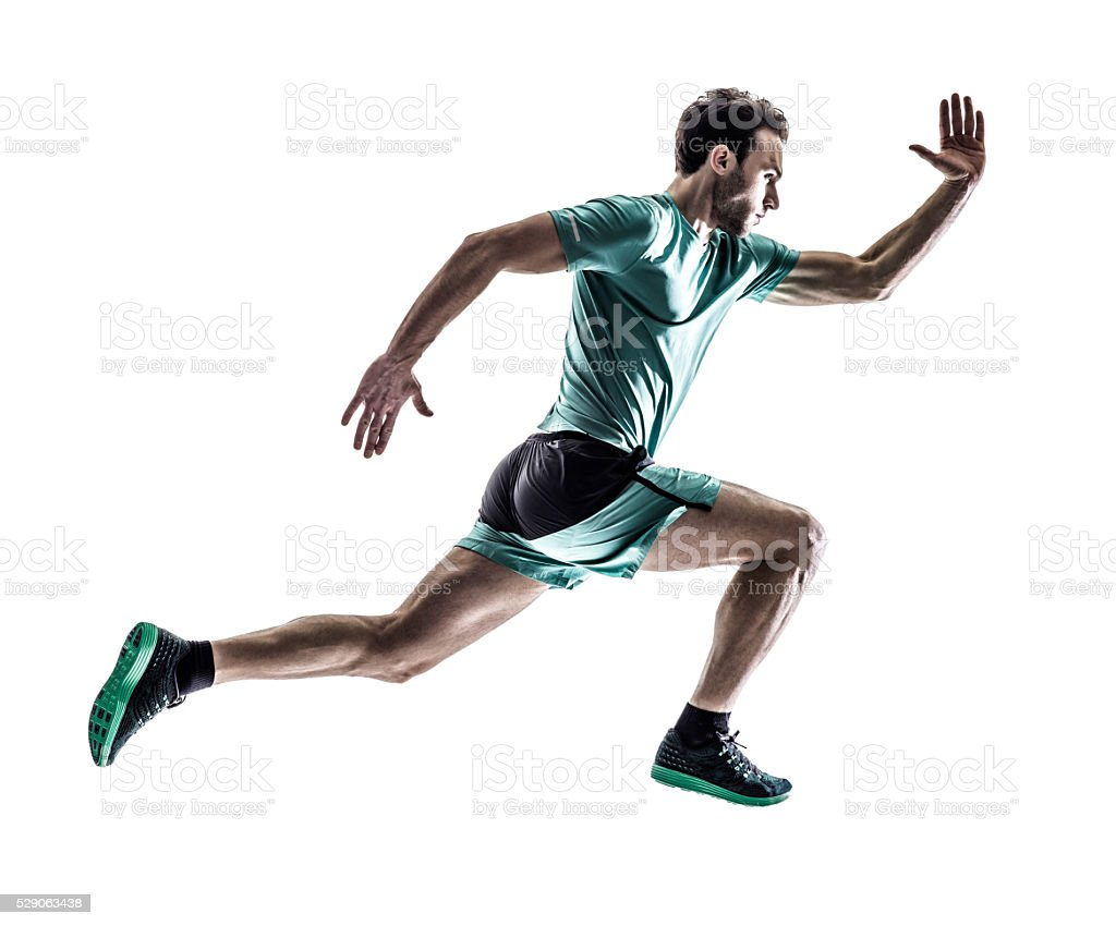 man runner jogger running  isolated stock photo