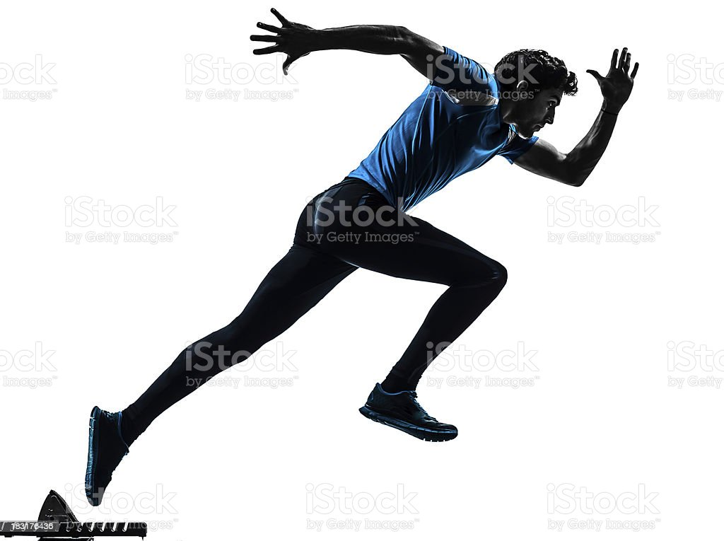 man runner sprinter silhouette stock photo