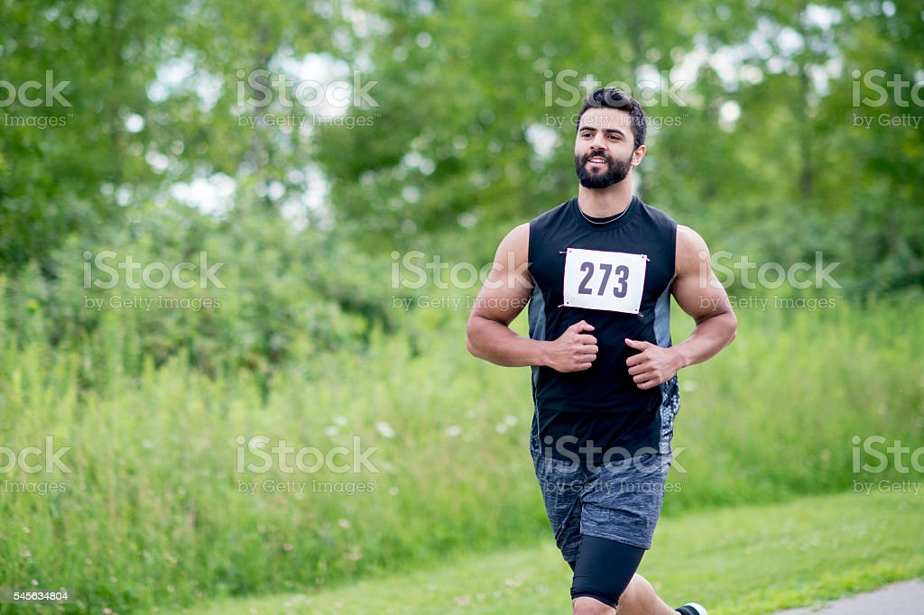 Man Running a Marathon stock photo