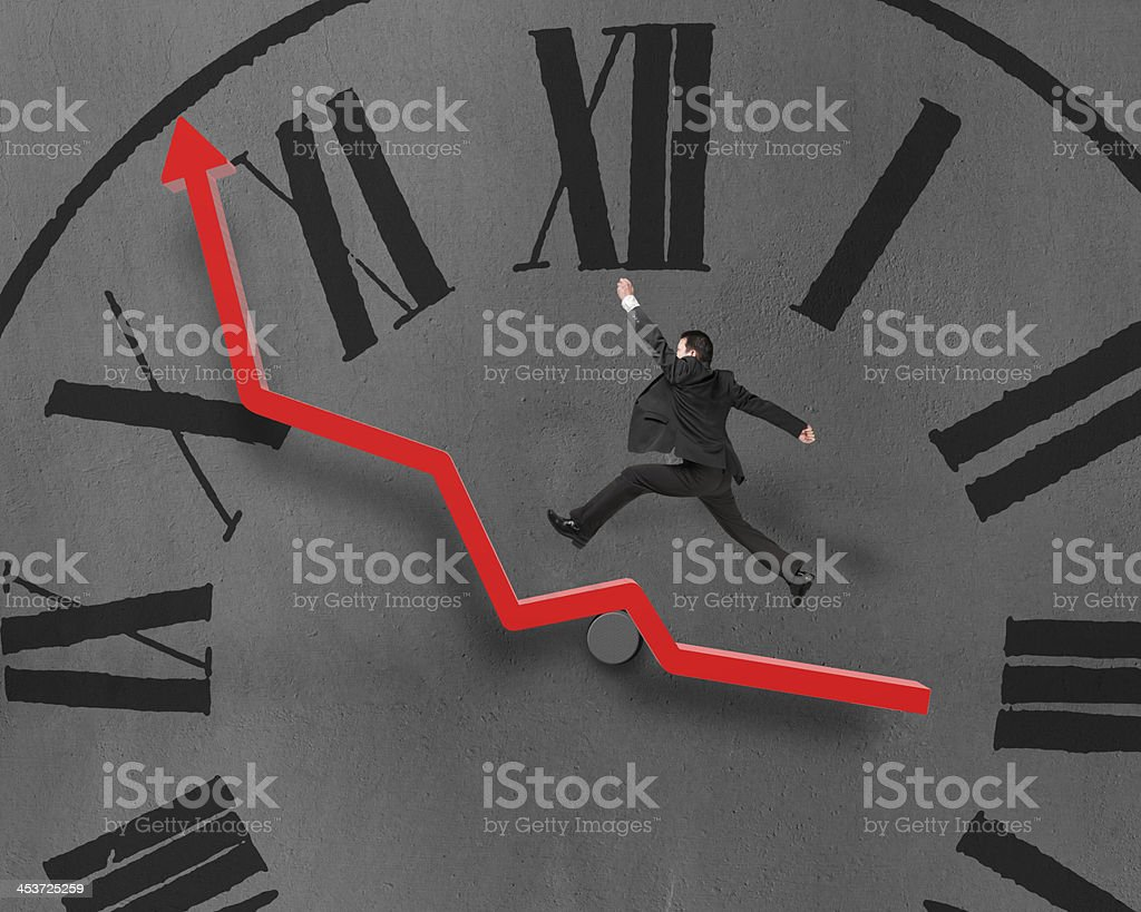 Man running and jumping on growth red arrow, chock face royalty-free stock photo