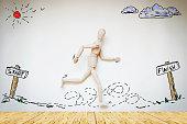 Man running from start to finish