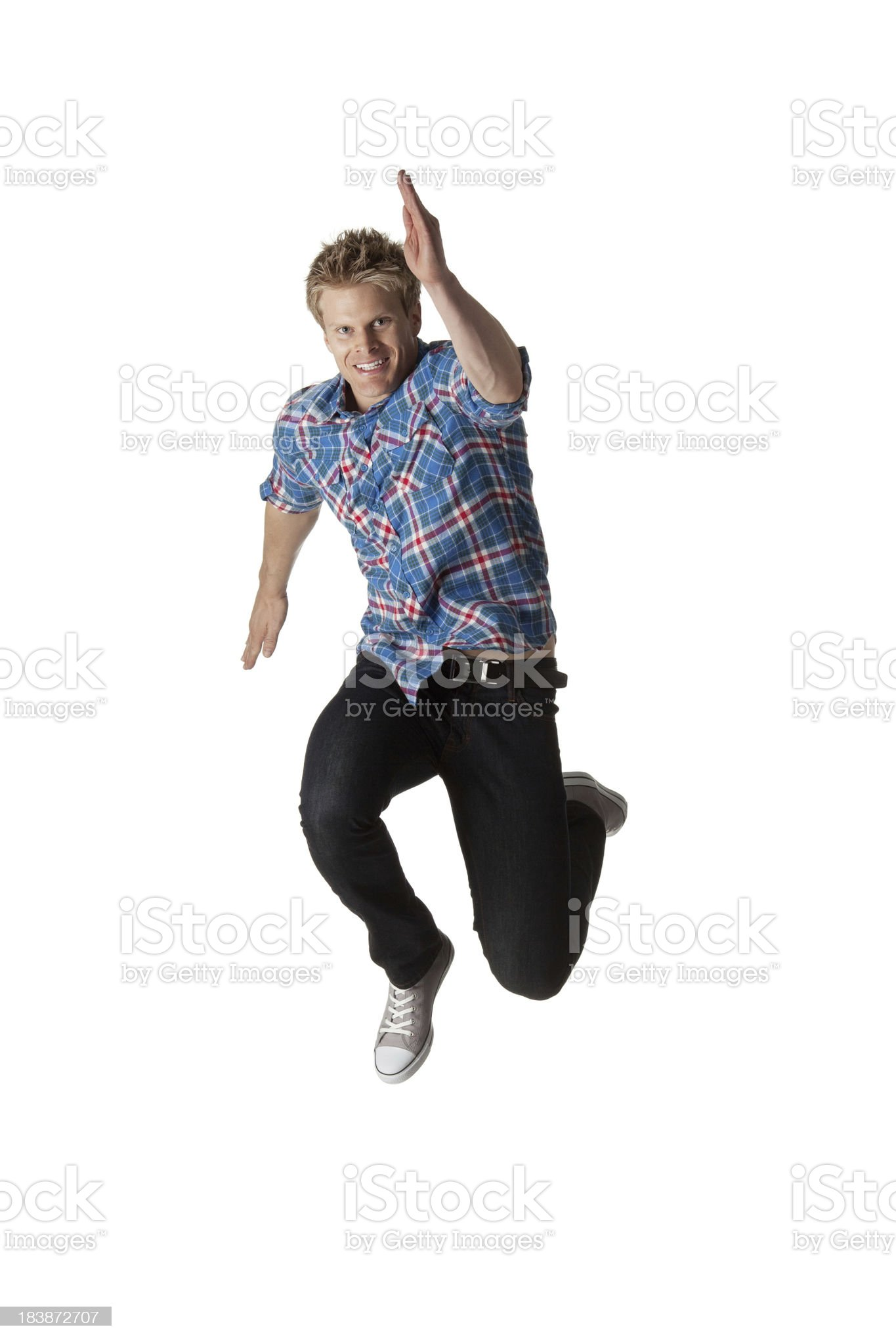 Man running in a hurry royalty-free stock photo