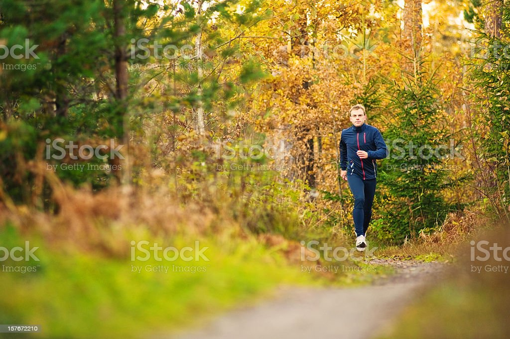 Man running in autumn trail royalty-free stock photo