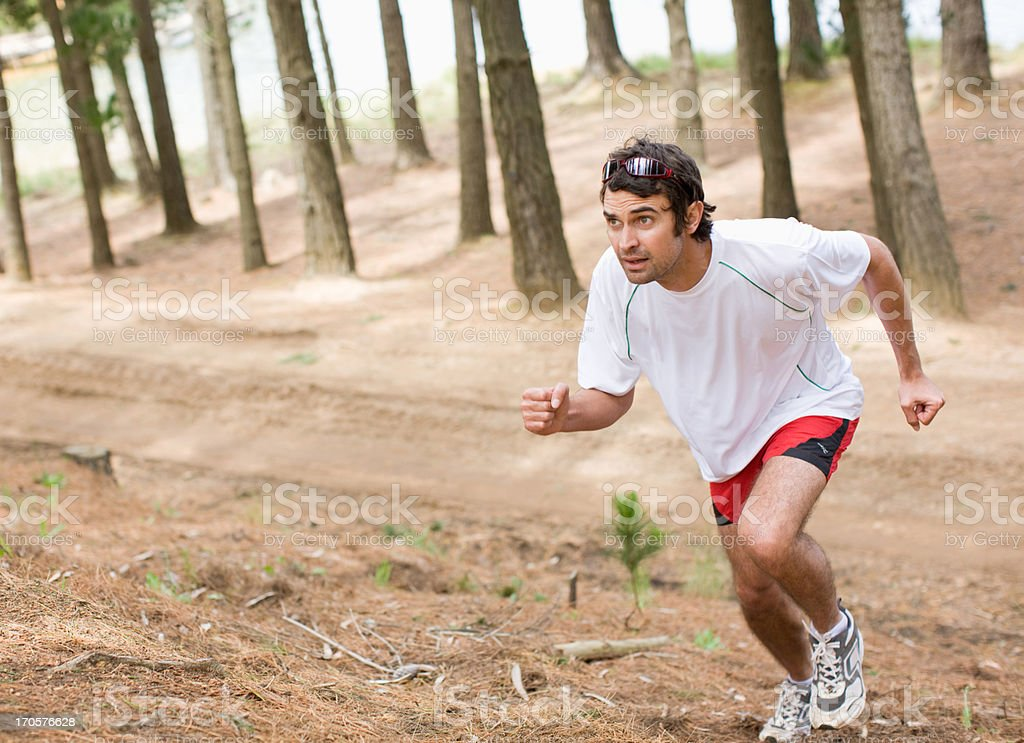 Man running in forest royalty-free stock photo