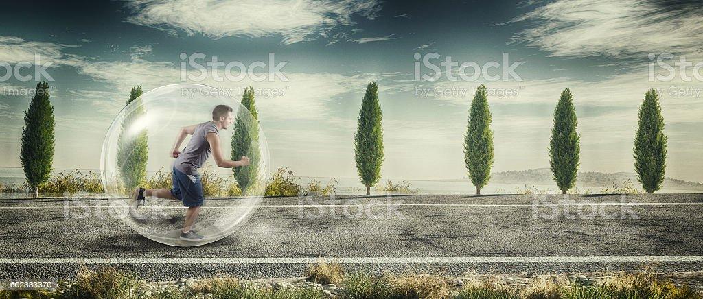 Man running in nature stock photo