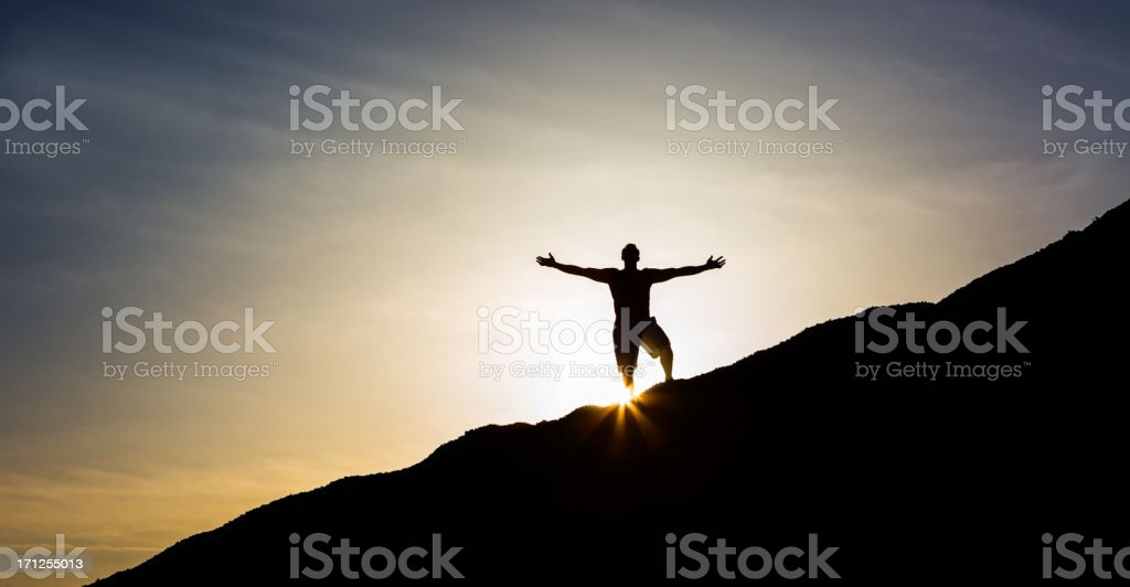 Man Running on Mountain Top royalty-free stock photo