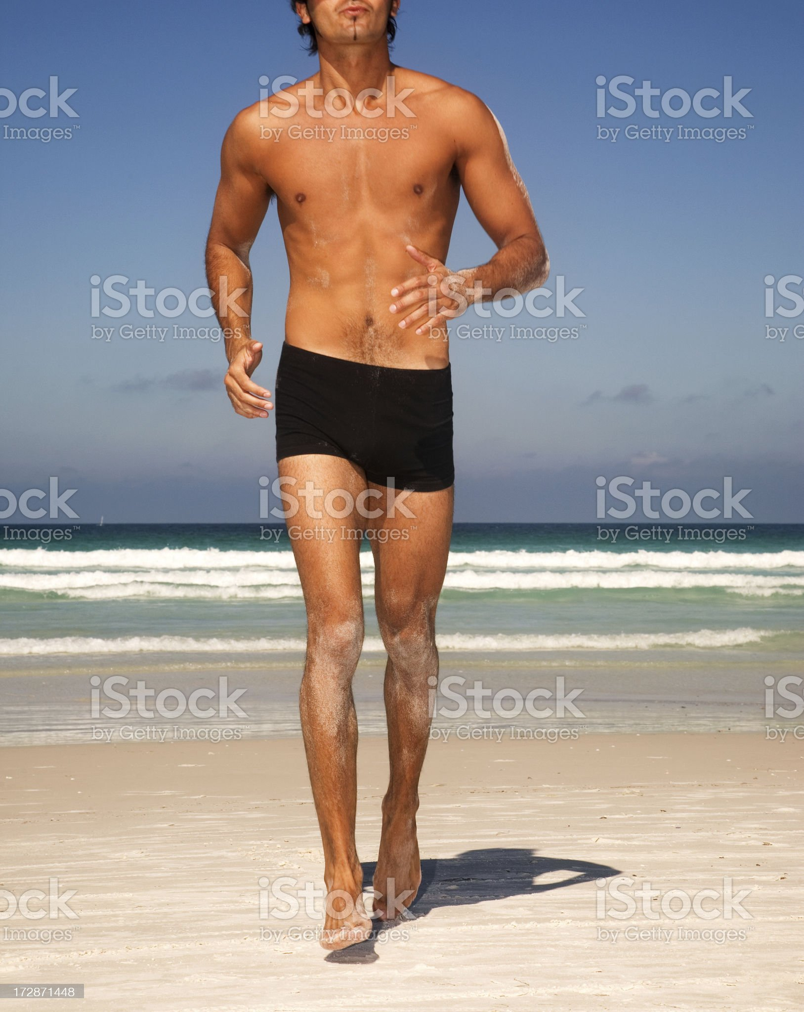 Man Running on the Beach royalty-free stock photo