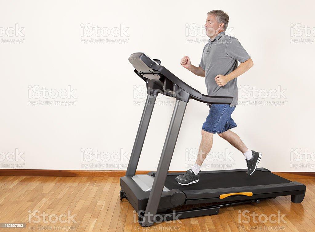 Man Running on Treadmill royalty-free stock photo