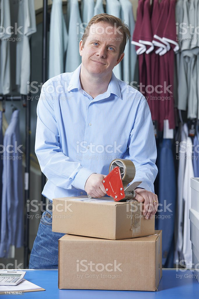 Man Running Online Clothes Store royalty-free stock photo