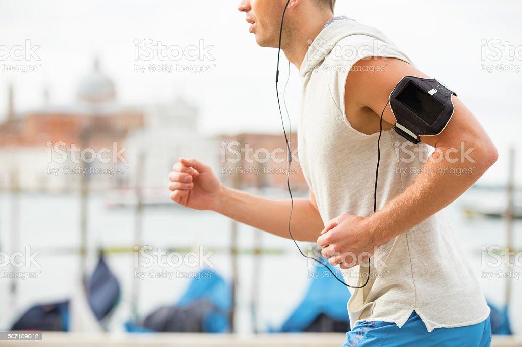 Man running stock photo