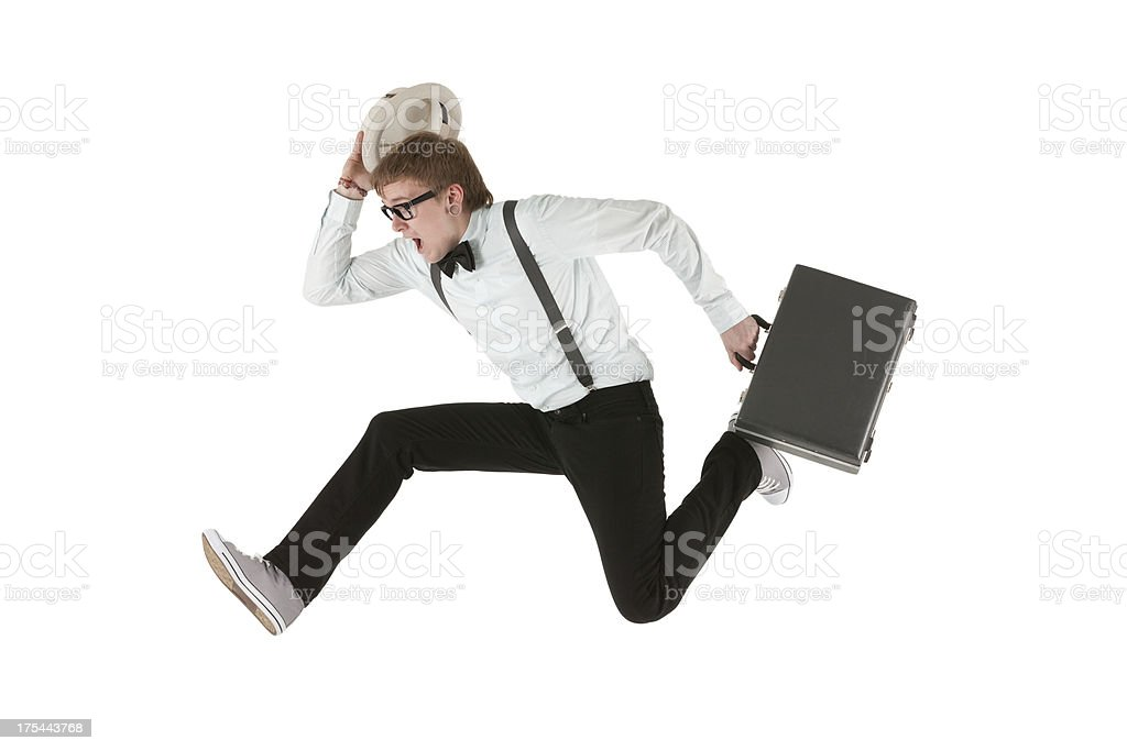 Man running with a briefcase royalty-free stock photo