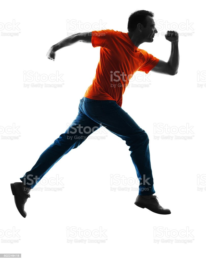 man runnning jumping silhouette isolated stock photo
