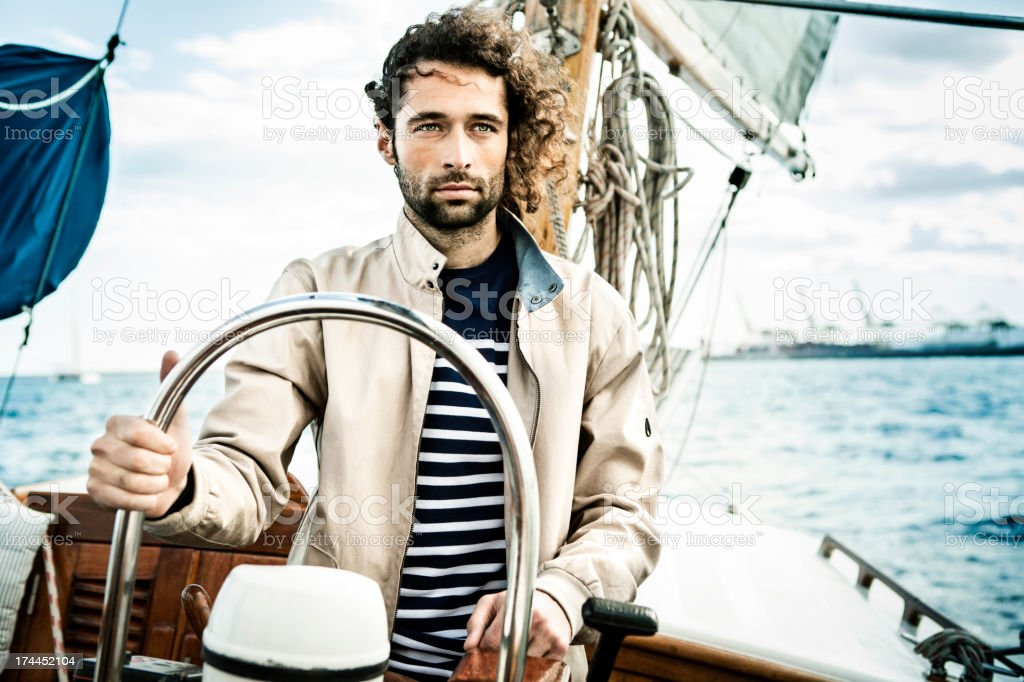 Man sailing stock photo