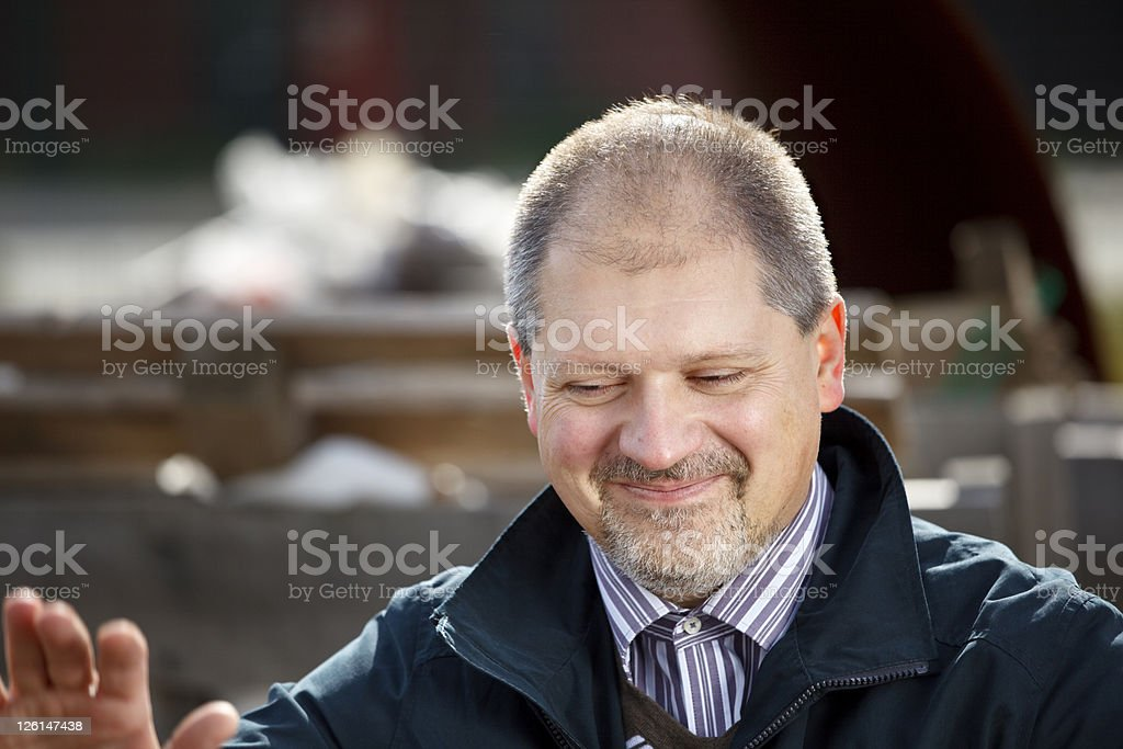 Man Saying No Thanks stock photo