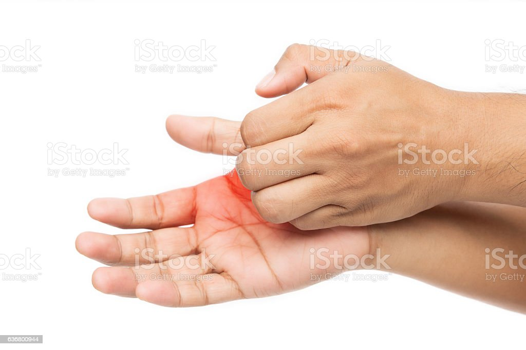 Man scratch the itch with hand stock photo