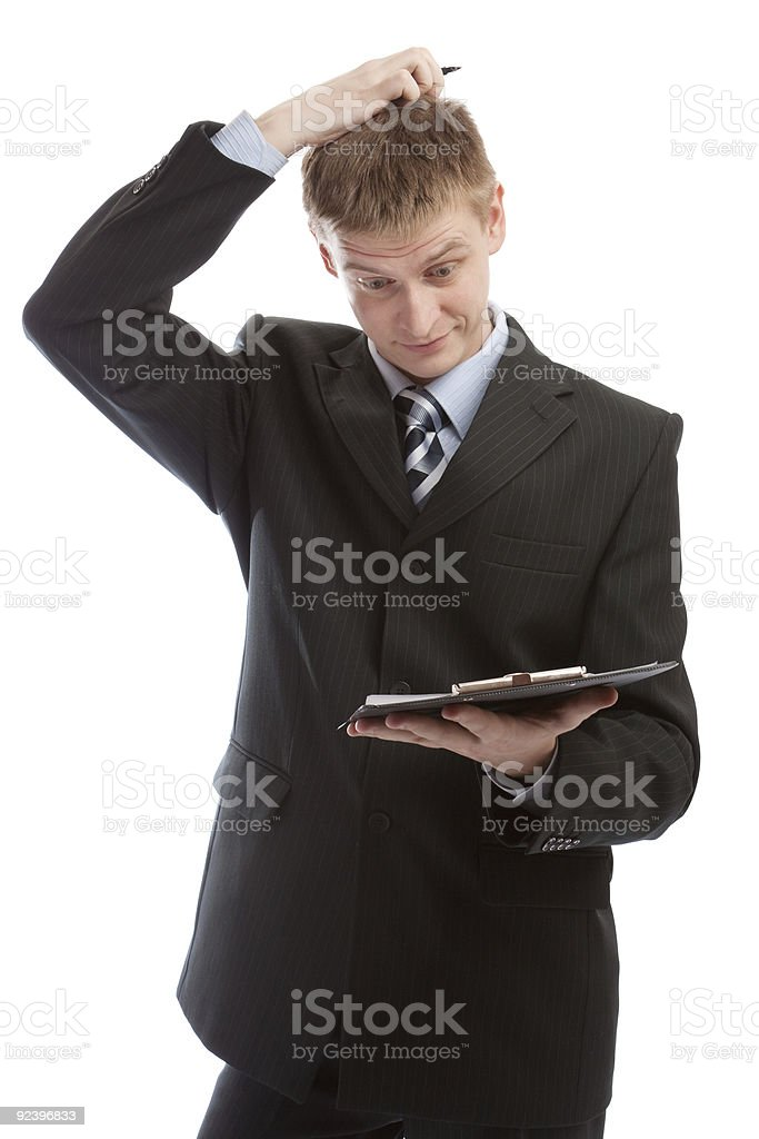 Man scratching his head royalty-free stock photo