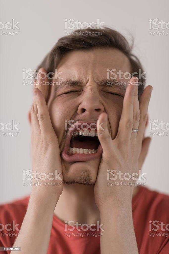 Man screaming stock photo