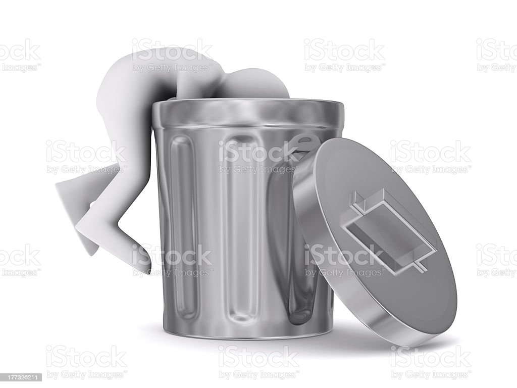 man searching in garbage container. Isolated 3D image stock photo