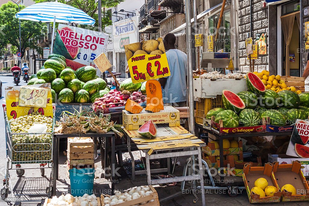Man sells watermelons on the streets of Palermo, Sicily stock photo