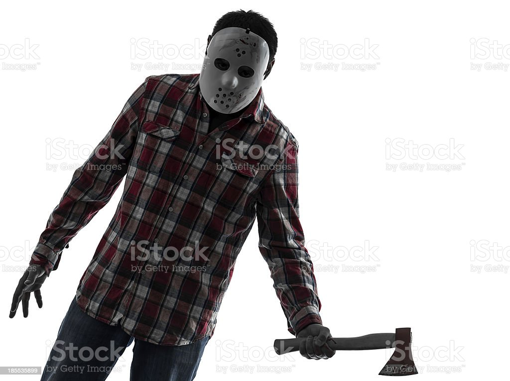 man serial killer with axe silhouette portrait royalty-free stock photo