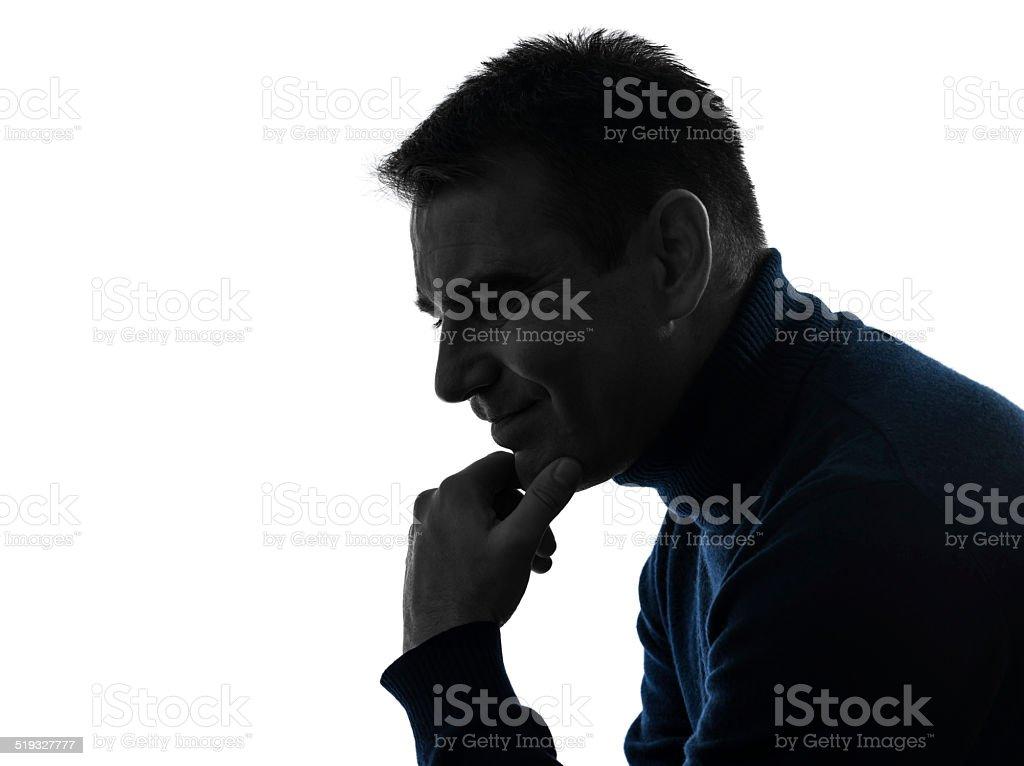 man serious thinking pensive silhouette portrait stock photo