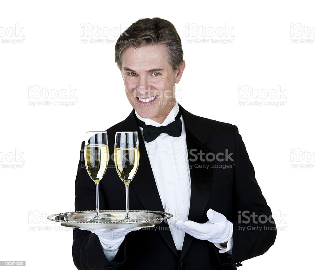 Man serving champagne royalty-free stock photo