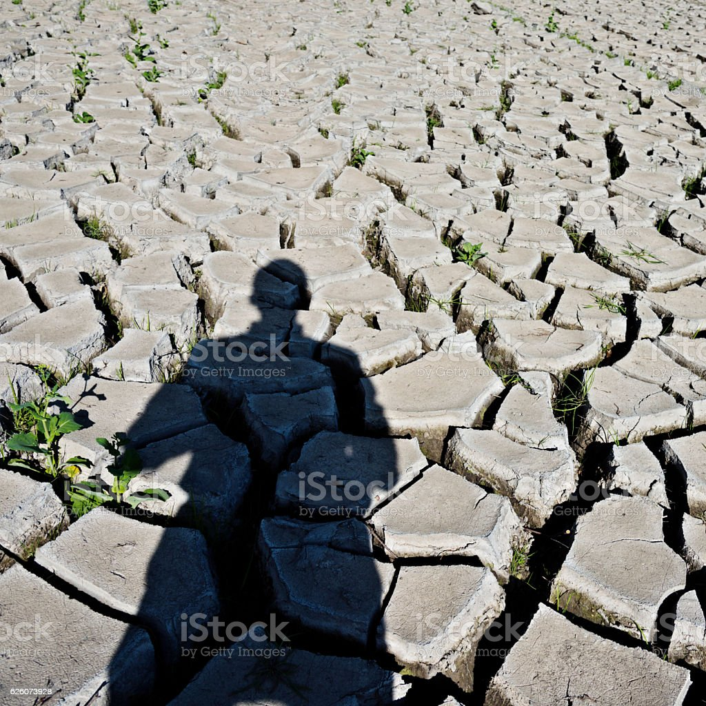 Man shadow on dry field stock photo