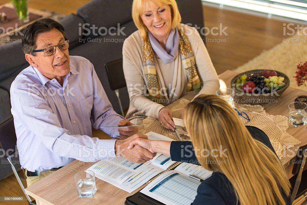 Man shaking hands stock photo