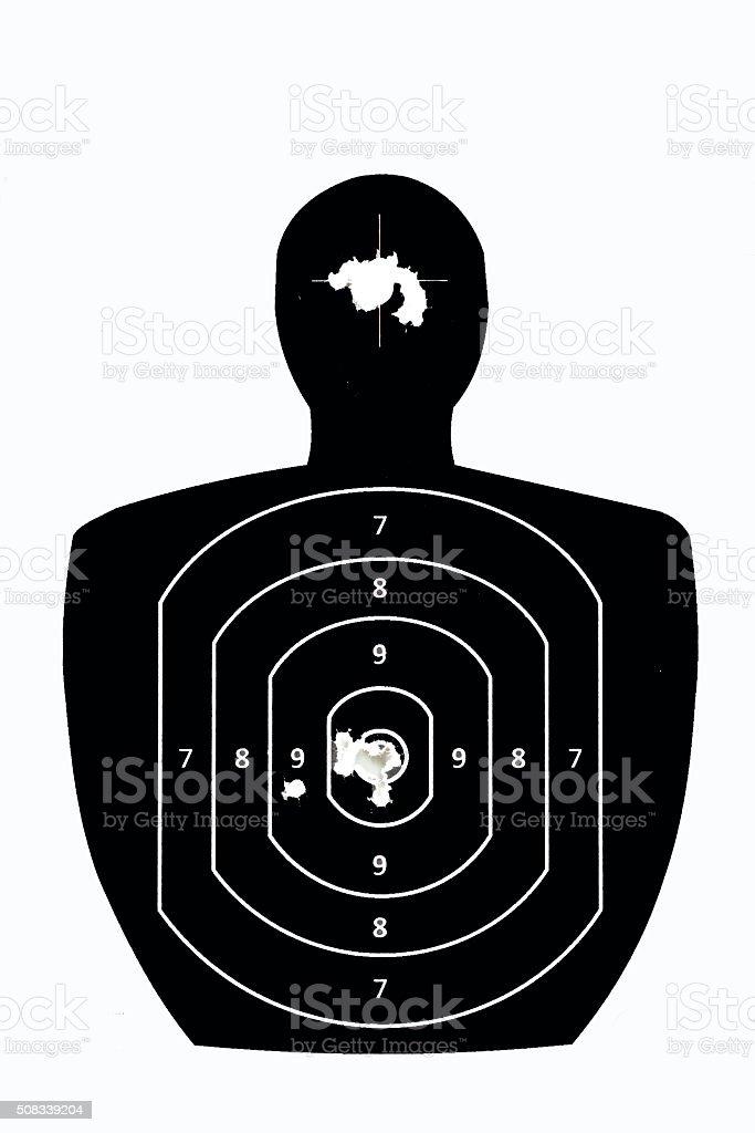 man shaped paper rifle target. stock photo