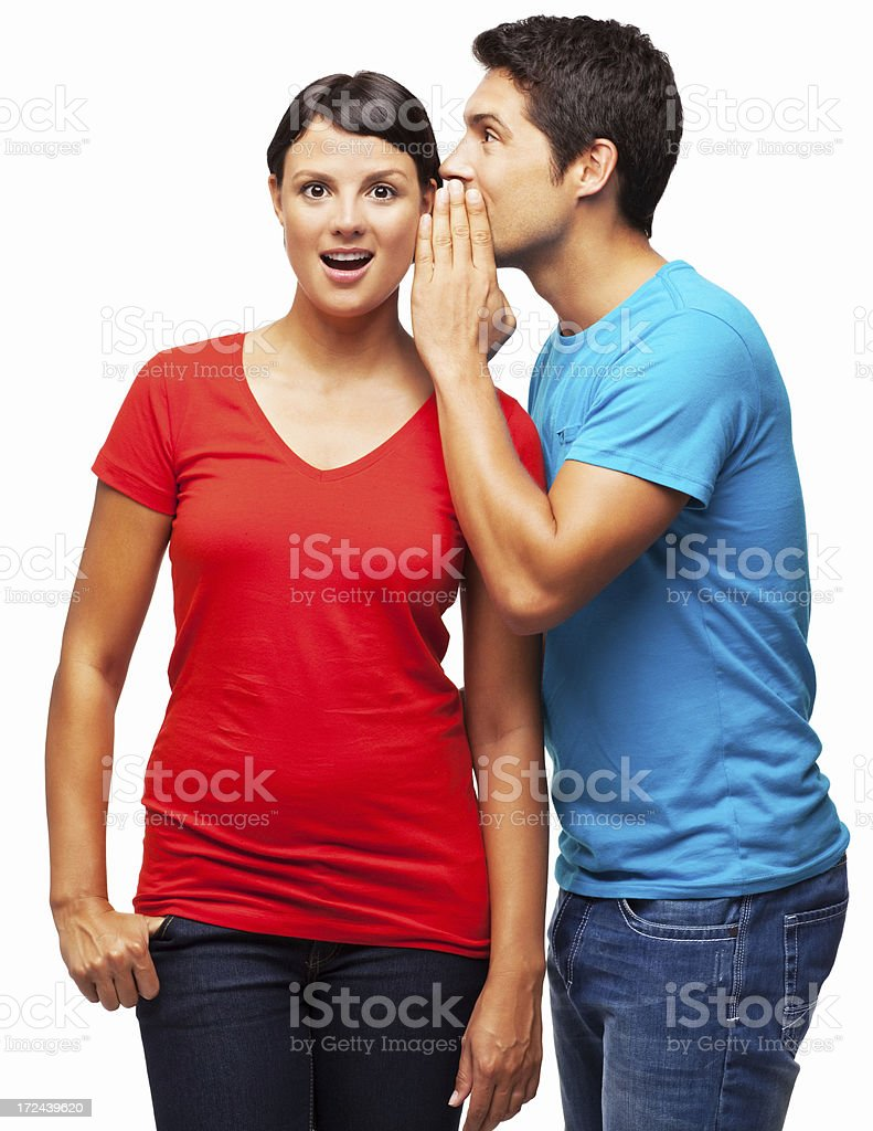Man Sharing Secret With Girlfriend - Isolated royalty-free stock photo