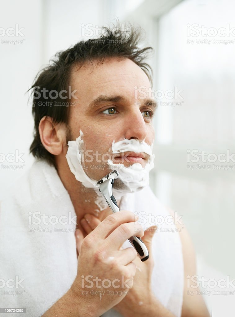 Man Shaving Face royalty-free stock photo