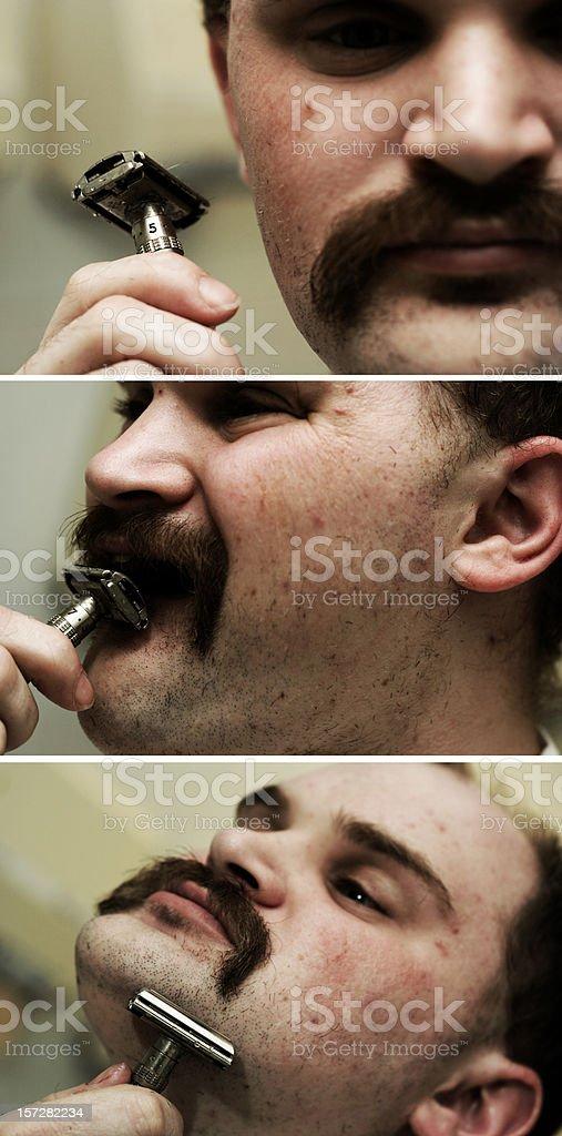 Man Shaving his Beard royalty-free stock photo