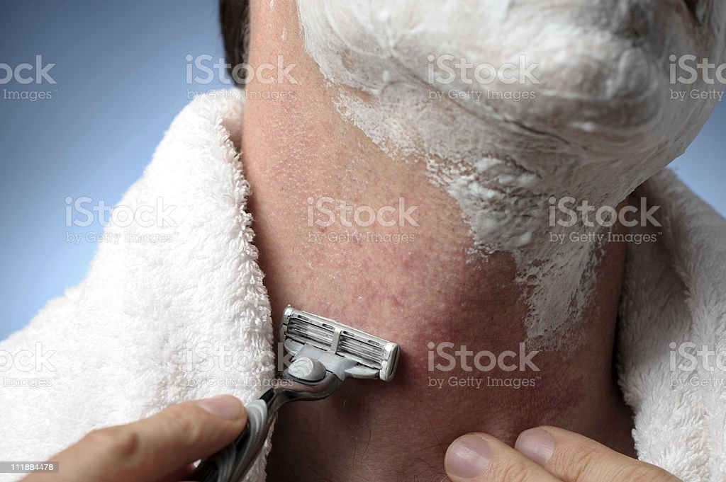 Man Shaving with Razor Burn stock photo