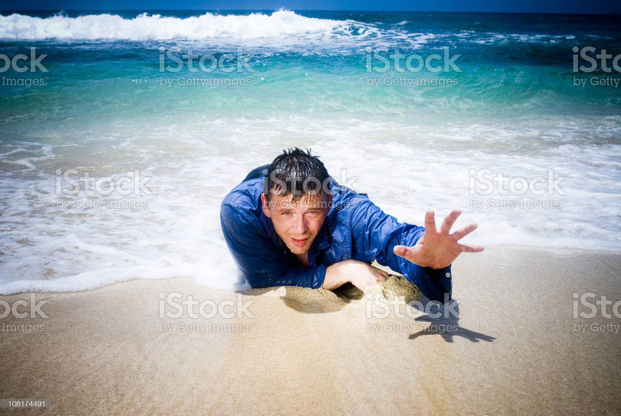 Man Shipwrecked, Reaching For Help royalty-free stock photo