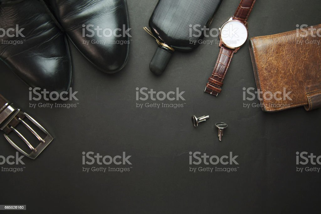 man shoes, belts and perfume stock photo