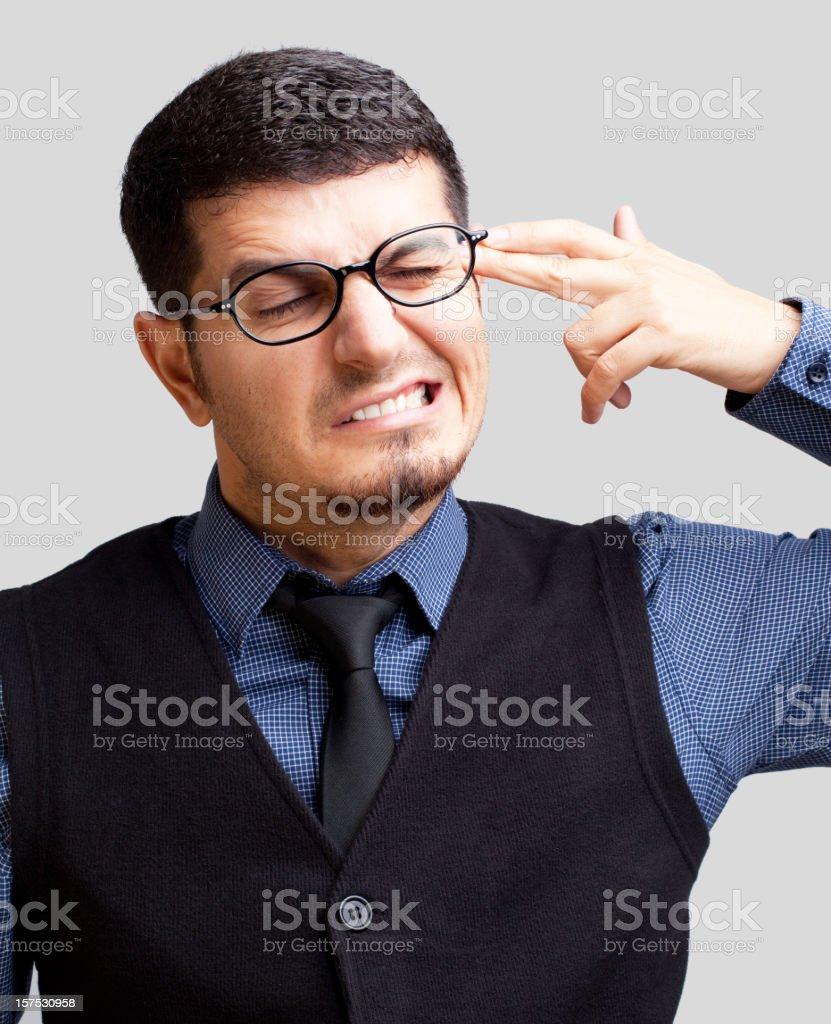 Man shooting self in head stock photo