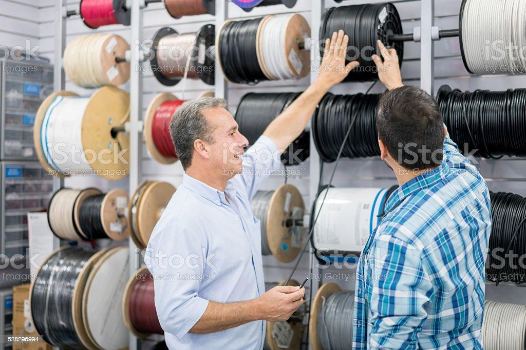 Man shopping at a hardware store stock photo