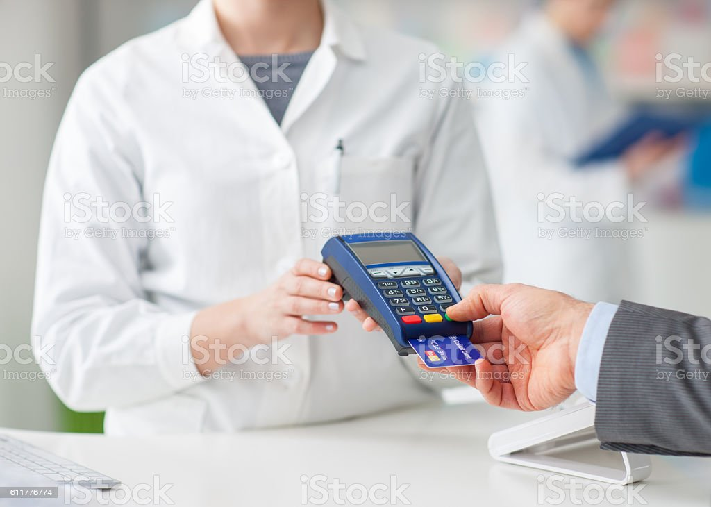 Man shopping at the drugstore stock photo