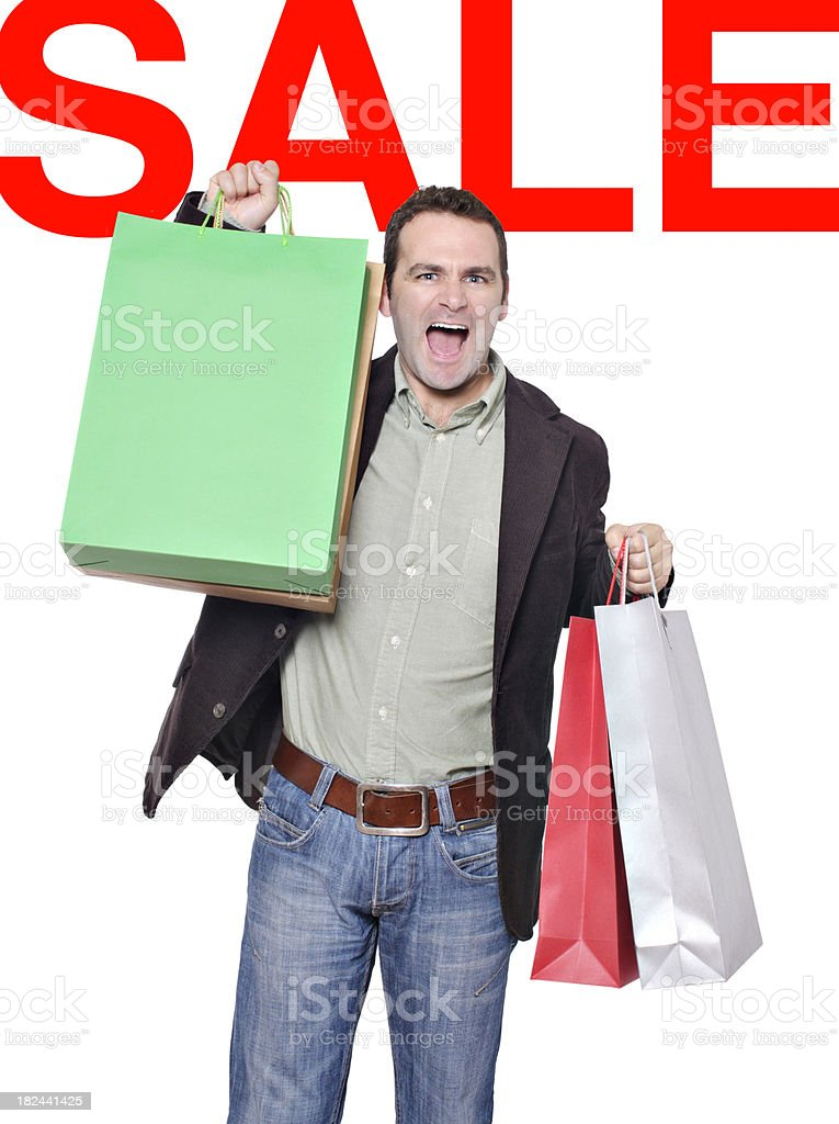 Man shopping during sales season stock photo