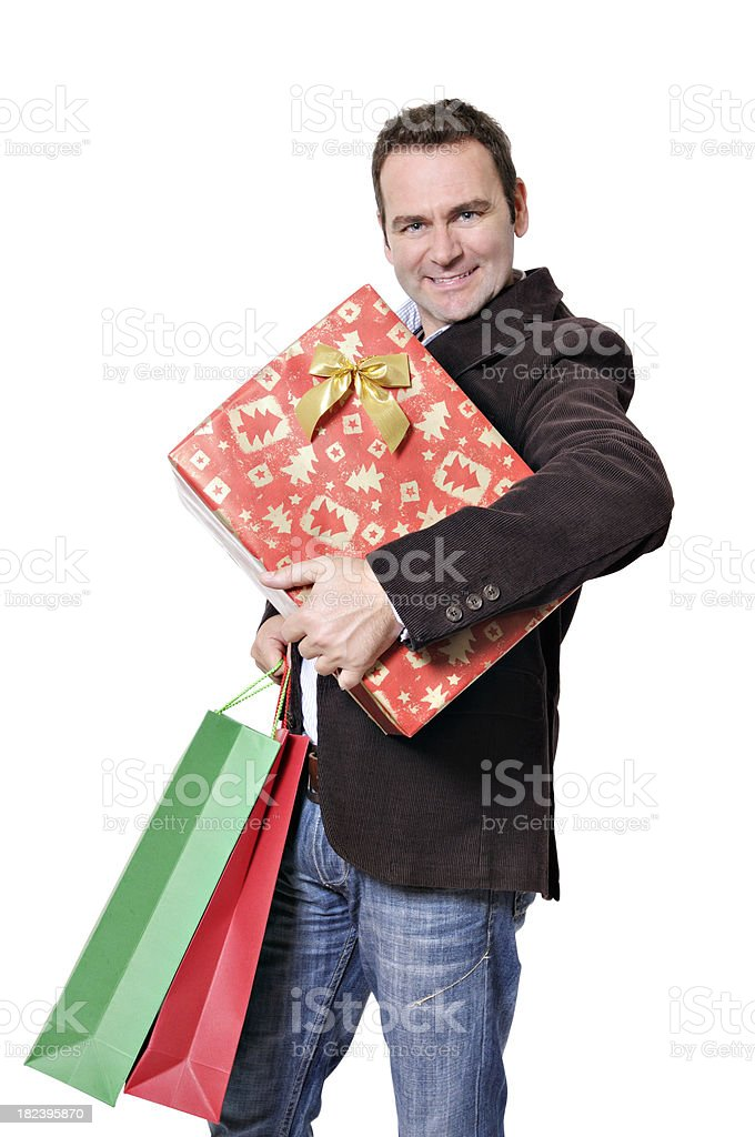 Man shopping for gifts stock photo