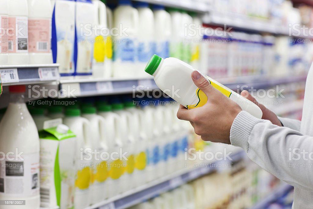 Man Shopping for Milk royalty-free stock photo