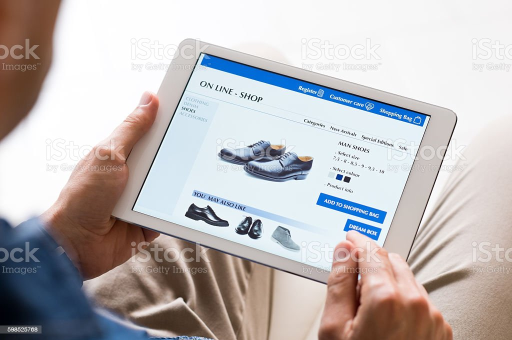 Man shopping online stock photo