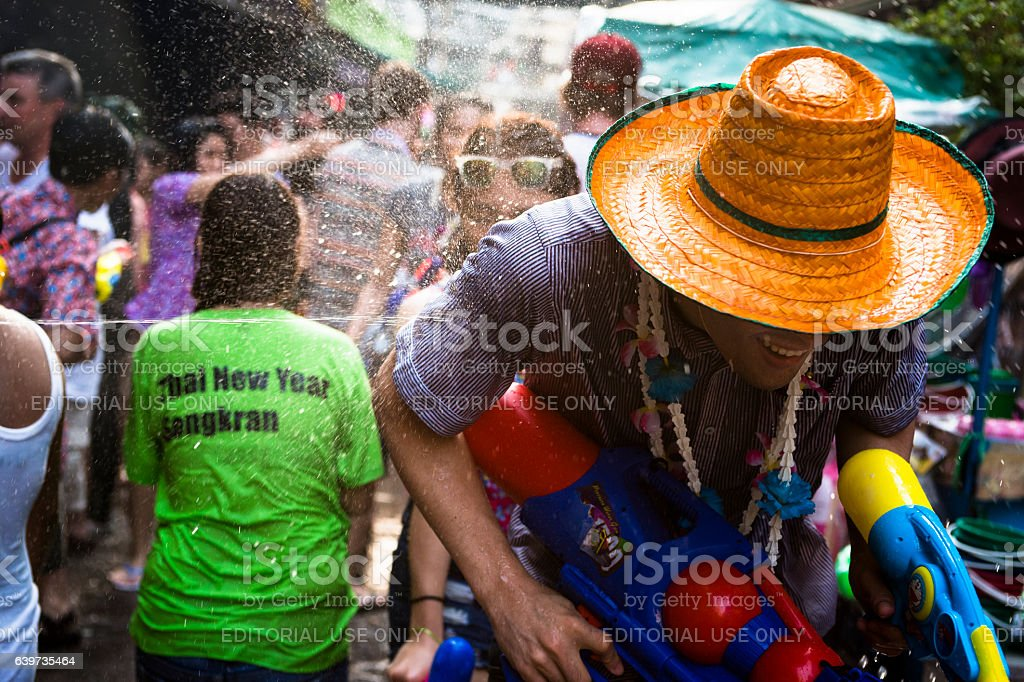 Man shot with water stock photo