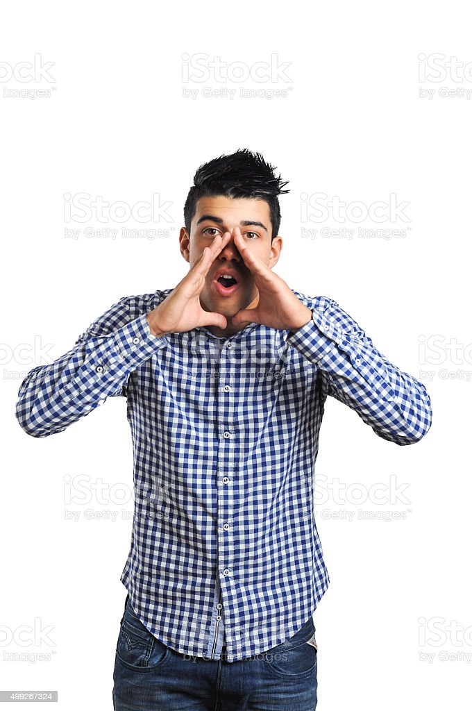 Man Shouting Isolated On White Background stock photo