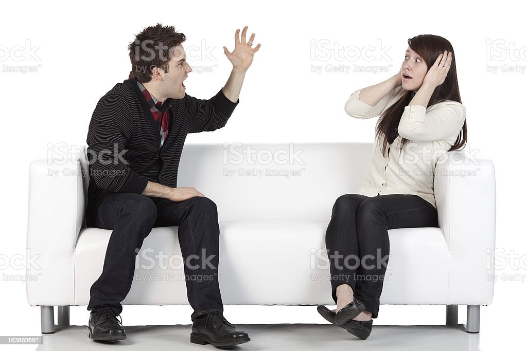 Man shouting over a woman royalty-free stock photo